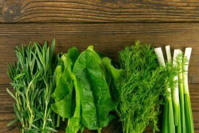 Fototapeta Mixed greens, fresh, garden herbs. Spinach, rosemary, dill and green onions stand on a wooden table. Top views with clear space.