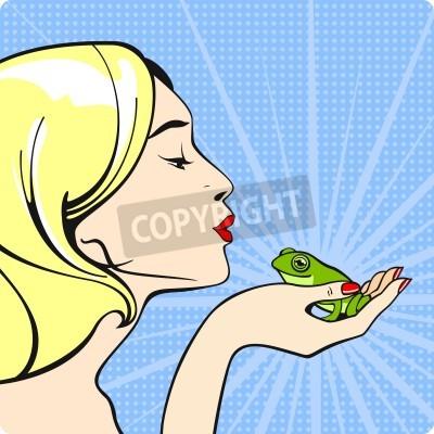 Fototapeta Młoda kobieta całuje żabę