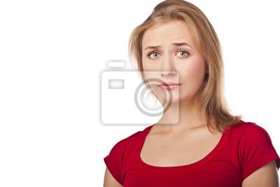 Młoda kobieta denerwować w studio