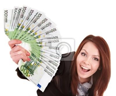 Młoda kobieta gospodarstwa euro pieniędzy. Samodzielnie.