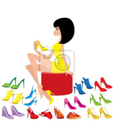 Młoda kobieta próbuje na buty. wektor