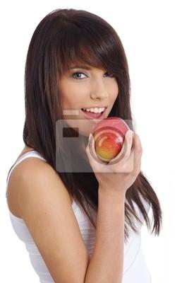 Fototapeta młoda kobieta trzyma jabłko. Samodzielnie na białym tle