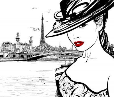 Fototapeta Młoda kobieta w pobliżu rzeki Seine w Paryżu