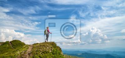 Fototapeta Młoda kobieta wycieczkuje w górach