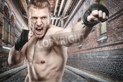 Fototapeta Młody bokser przed miejskim stylu