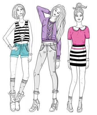 Fototapeta Młody ilustracja dziewczyny mody. Ilustracji wektorowych. Backgroun