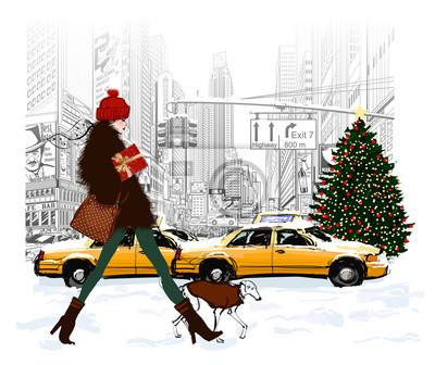 Młody modna kobieta zakupy w Nowym Jorku