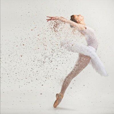 Fototapeta Młody tancerz baletnicy tutu wykonywania na pointes