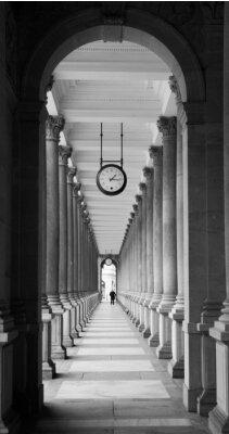 Fototapeta Młyn kolumnada w Karlowych Warach w czerni i bieli