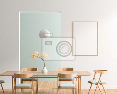Fototapeta Mock up poster frame in spacious modern dining room with wooden chairs and table.  Minimalist dining room design. 3D illustration.