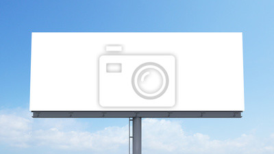 Fototapeta mockup blank billboard white space on bluesky background, 3d rendering.