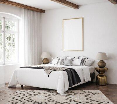 Fototapeta Mockup frame in luxury Hampton style bedroom interior, 3d render