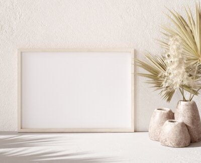 Fototapeta Mockup frame with dry plant in pot close up, nomadic style, 3d render
