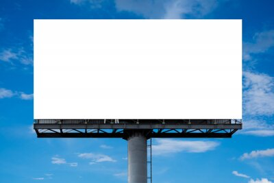 Fototapeta Mockup Large white blank billboard or white promotion poster displayed on the outdoor against the blue sky background. Promotion information for marketing announcements and details