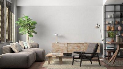 Fototapeta Mockup of blank white wall in interior of living room.