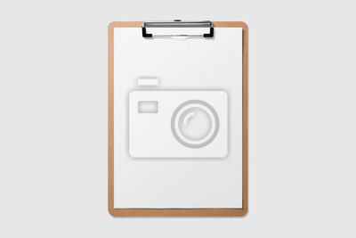 Fototapeta Mockup of wooden clipboard with blank paper isolated on light grey background.