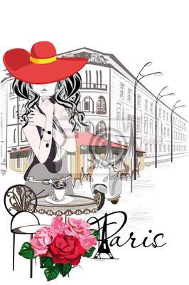 Moda kobieta w czerwonym kapeluszu na ulicy kawiarni, urządzone z kwiatami w starym mieście. R? Cznie rysowane ilustracji.