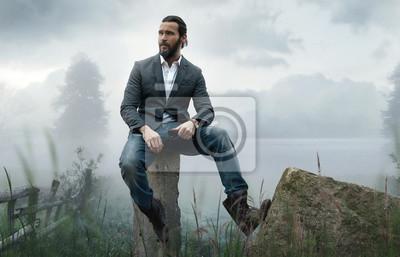 Fototapeta Moda na zewnątrz zdjęcie stylowe przystojny mężczyzna