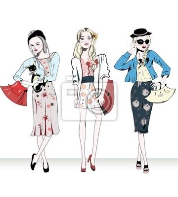 Moda retro dziewczyny z torby na zakupy