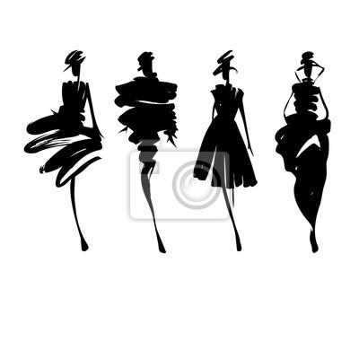 Fototapeta Modelki szkic rysowane ręcznie, stylizowane sylwetki izolowane. Wektor mody zestaw ilustracji. Moda logo.