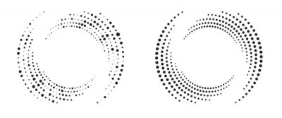 Fototapeta Modern abstract background. Halftone dots in circle form. Round logo. Vector dotted frame. Design element or icon.