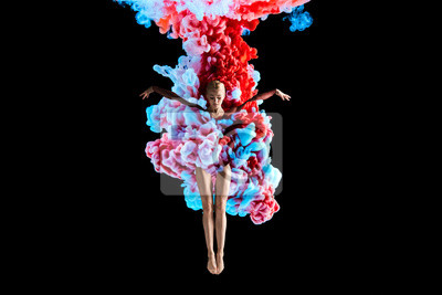 Fototapeta Modern art collage. Concept ballerina with colorful smoke. Abstract formed by color dissolving in water on black background