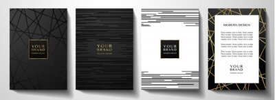 Fototapeta Modern black cover design set. Luxury creative line pattern in premium colors: black, gold and white. Formal vector layout useful for notebook cover, business poster, brochure template