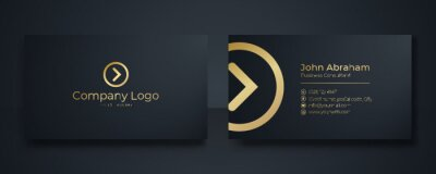 Fototapeta Modern Business Card - Creative and Clean Business Card Template. Luxury business card design template. Elegant dark back background with abstract golden wavy lines shiny. Vector illustration