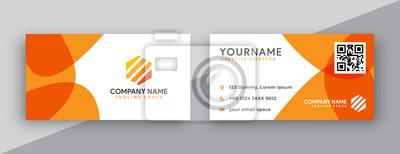 Fototapeta modern business card design . double sided business card design template . flat orange business card inspiration