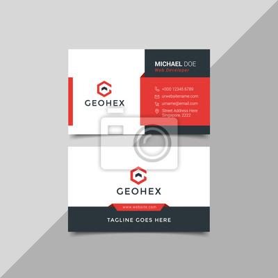 Fototapeta Modern business card template red black colors. Flat design vector abstract creative - Vector