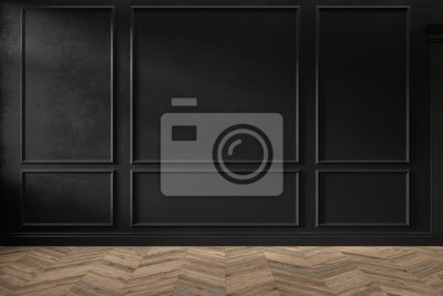 Fototapeta Modern classic black color empty interior with wall panels, mouldings and wooden floor. 3d render illustration mock up.