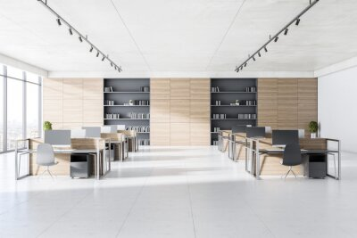 Fototapeta Modern coworking office interior with concrete floor, windows with panoramic city view and workplace furniture. Corporate workspace concept. 3D Rendering.