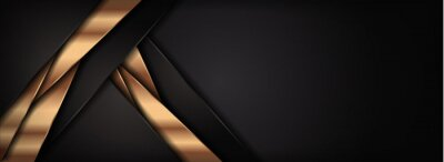 Fototapeta Modern Dark Brown and Golden Lines Combination Background Design with Overlap Layer Textured Style Concept.
