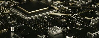 Fototapeta Modern electronic circuit board close up in gold 3d render