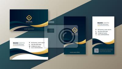 Fototapeta modern elegant golden wave business card