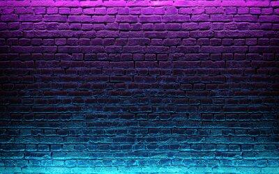 Fototapeta Modern futuristic neon lights on old grunge brick wall room background. 3d rendering