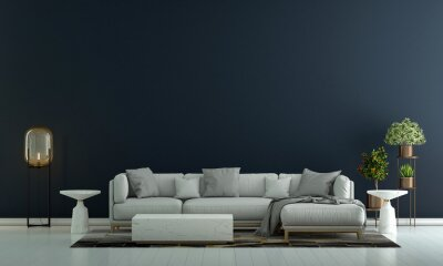 Fototapeta Modern living room interior and sofa and blue empty wall texture background