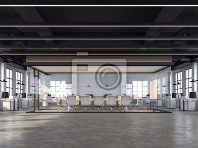 Fototapeta Modern loft style office with white brick walls, polished concrete floors and black ceilings that show the building system, decorated with white furniture,3d redering image.