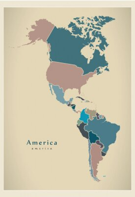 Fototapeta Modern Map - America complete map with countries colored