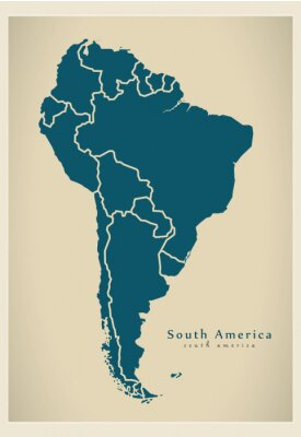 Fototapeta Modern Map - South America Map with all countries complete