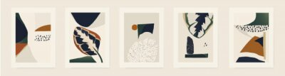 Fototapeta Modern minimalist abstract illustrations with plants. Contemporary wall decor. Collection of creative artistic posters.