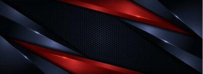 Fototapeta Modern Navy and Red Combination Background with Futuristic Overlap Layered Style Concept.