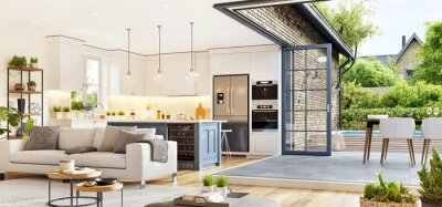 Fototapeta Modern open plan living room with beautiful kitchen. Cozy patio area with garden furniture