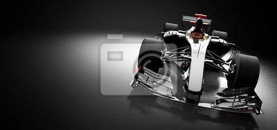 Fototapeta Modern race car in spotlight on black background.