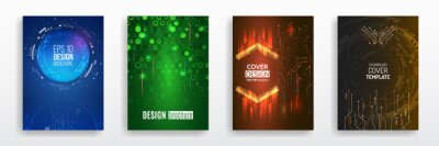 Fototapeta Modern science and digital technology concept. Vector template for brochure or cover with hi-tech elements background. Business layout, futuristic brochures, flyers, placards, presentation.