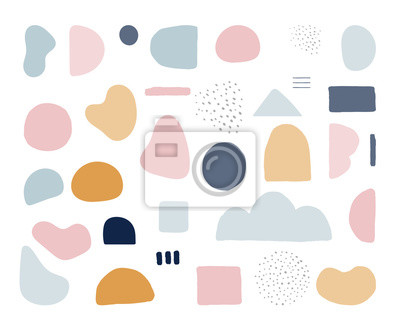 Fototapeta Modern trendy abstract shapes in pastel colors. Scandinavian clean vector design