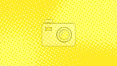 Fototapeta Modern yellow pop art background with halftone dots desing in comic style, vector illustration eps10
