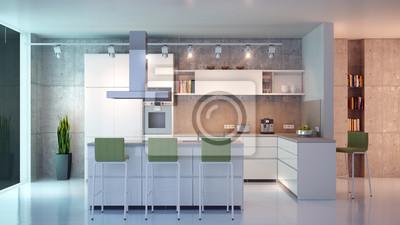 Fototapeta Moderne Weisse Küche