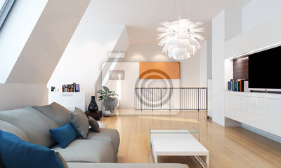 Fototapeta Moderne Wohnung - luksusowy apartament na poddaszu