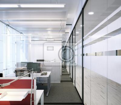 Fototapeta Modernes Zellenbüro aus Glas - nowoczesne biuro z partycji glas
